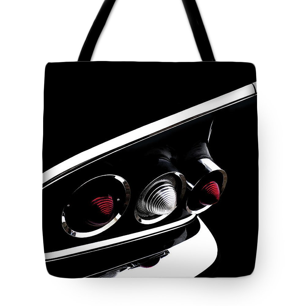 1958 Tote Bag featuring the digital art '58 Chevy Impala Fin by Douglas Pittman