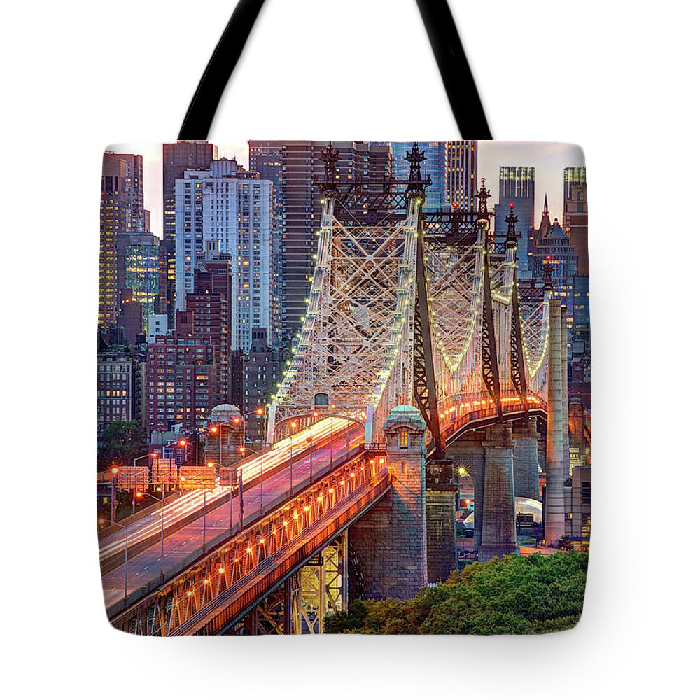 Architectural Column Tote Bag featuring the photograph 59th Street Bridge by Tony Shi Photography