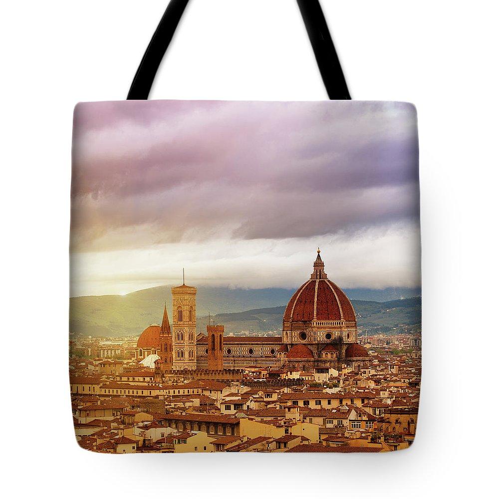 Palazzo Vecchio Tote Bag featuring the photograph Florence, Santa Maria Del Fiore by Deimagine