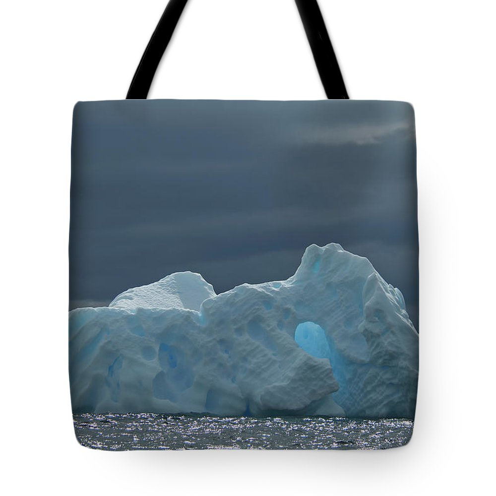Iceberg Tote Bag featuring the photograph Iceberg Along The Antarctic Peninsula by Mint Images - David Schultz