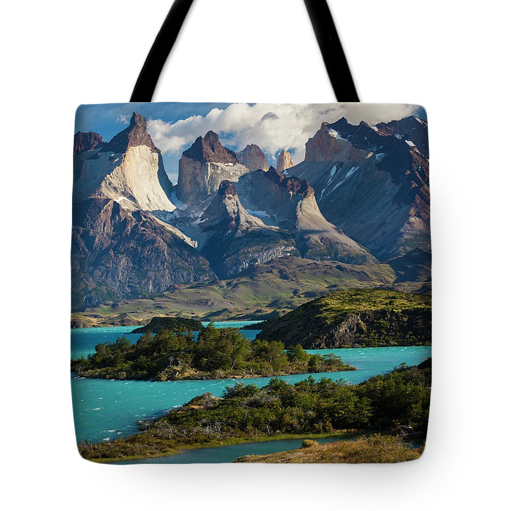 Scenics Tote Bag featuring the photograph Chile, Torres Del Paine National Park by Walter Bibikow