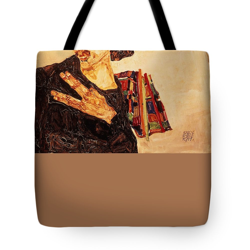 Egon Schiele Tote Bag featuring the painting Self Portrait by Egon Schiele