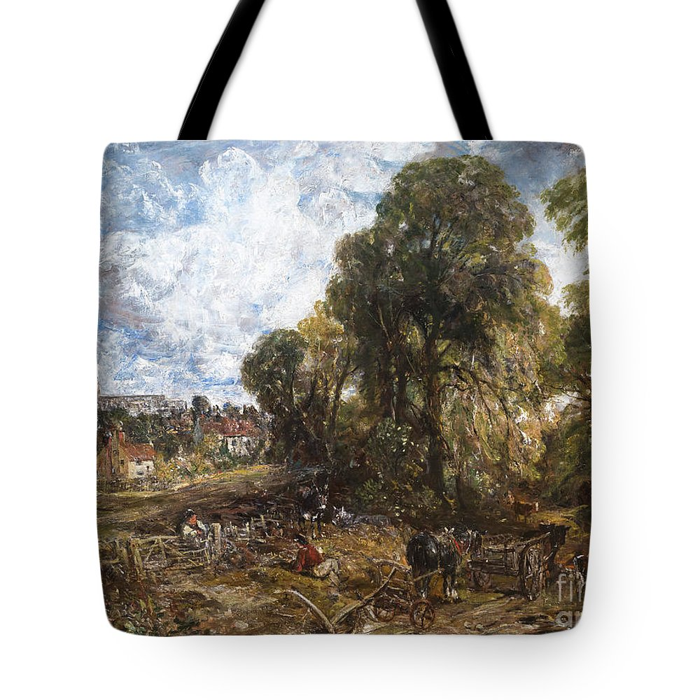 1836 Tote Bag featuring the photograph Stoke-by-nayland by Peter Barritt
