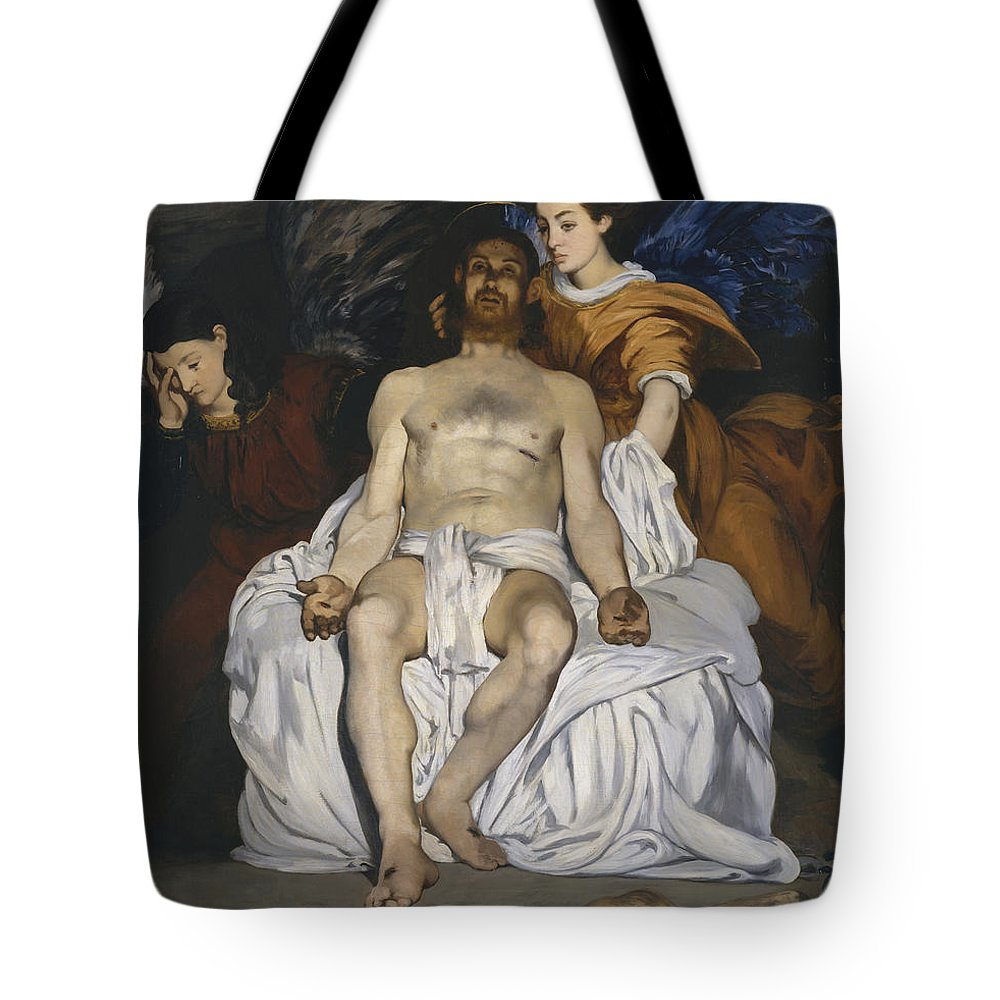 Edouard Manet Tote Bag featuring the painting The Dead Christ With Angels by Edouard Manet