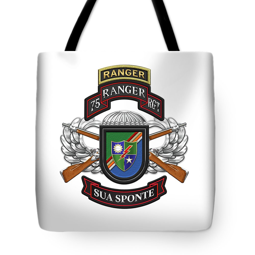 Military Insignia & Heraldry By Serge Averbukh Tote Bag featuring the digital art 75th Ranger Regiment - Army Rangers Special Edition Over White Leather by Serge Averbukh