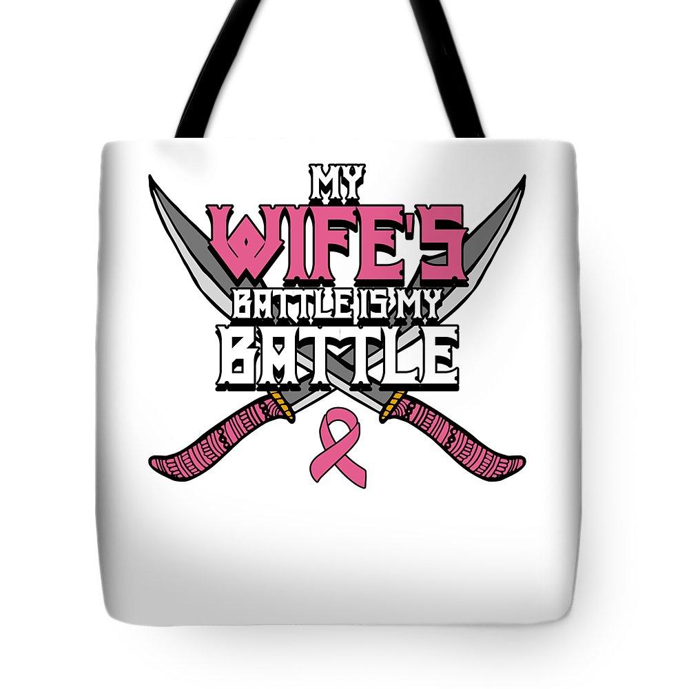 Breast-cancer Tote Bag featuring the digital art Breast Cancer Awareness Art For Warrior Women Light Dark by Nikita Goel