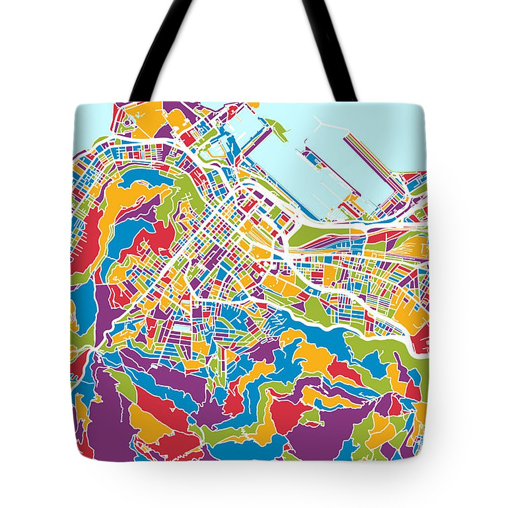 Cape Town Tote Bag featuring the digital art Cape Town South Africa City Street Map 8 by Michael Tompsett