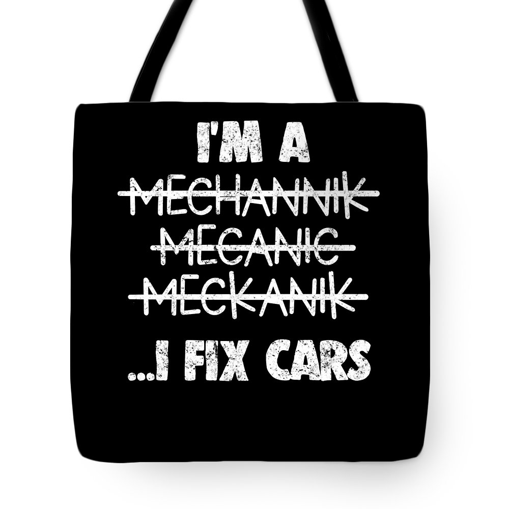Mechanic Tote Bag featuring the digital art Funny Mechanic Car Auto Apparel by Michael S
