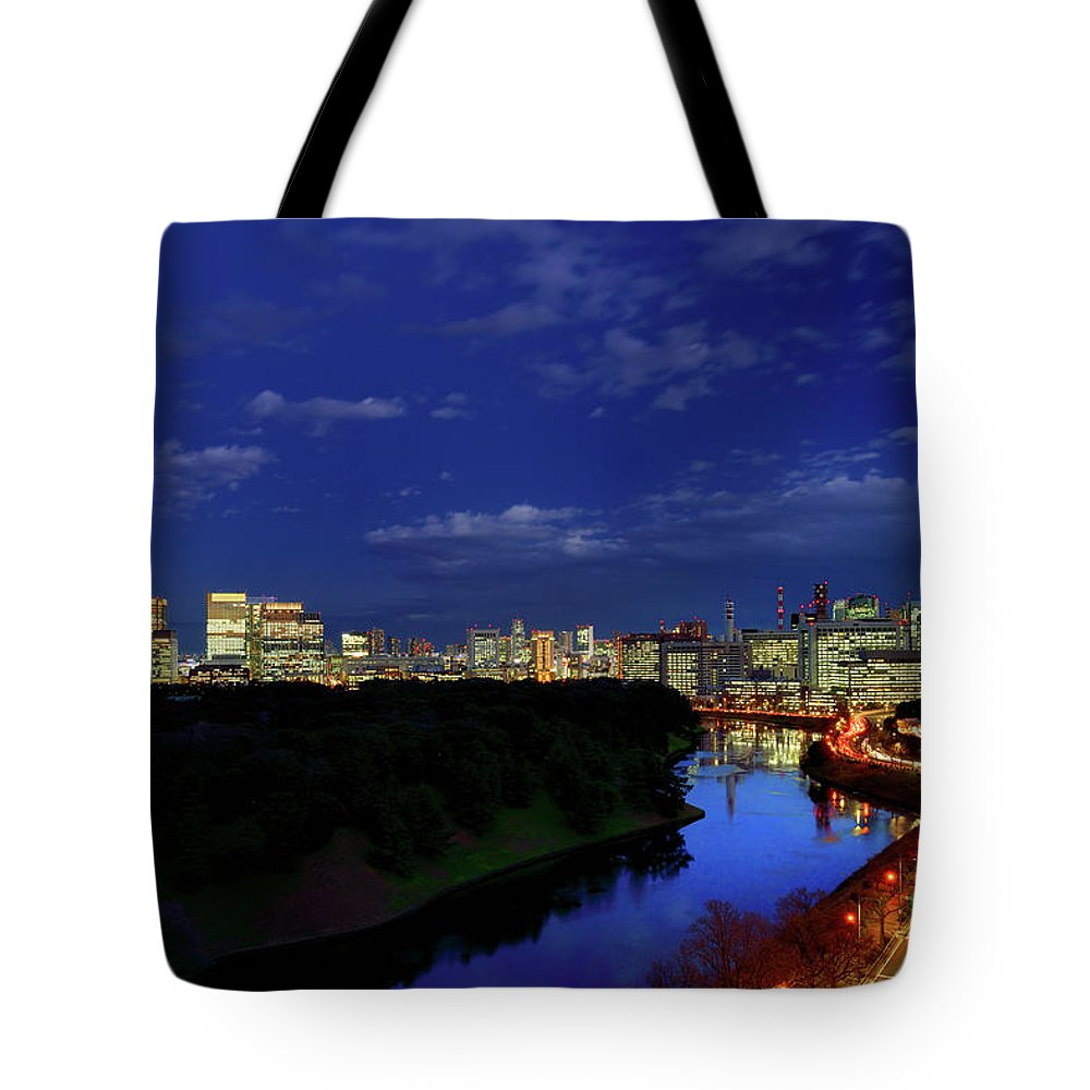 Two Lane Highway Tote Bag featuring the photograph Tokyo Downtown Cityscape by Vladimir Zakharov
