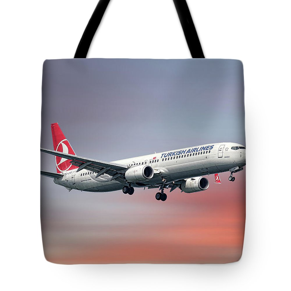 Turkish Tote Bag featuring the mixed media Turkish Airlines Boeing 737-9f2 by Smart Aviation