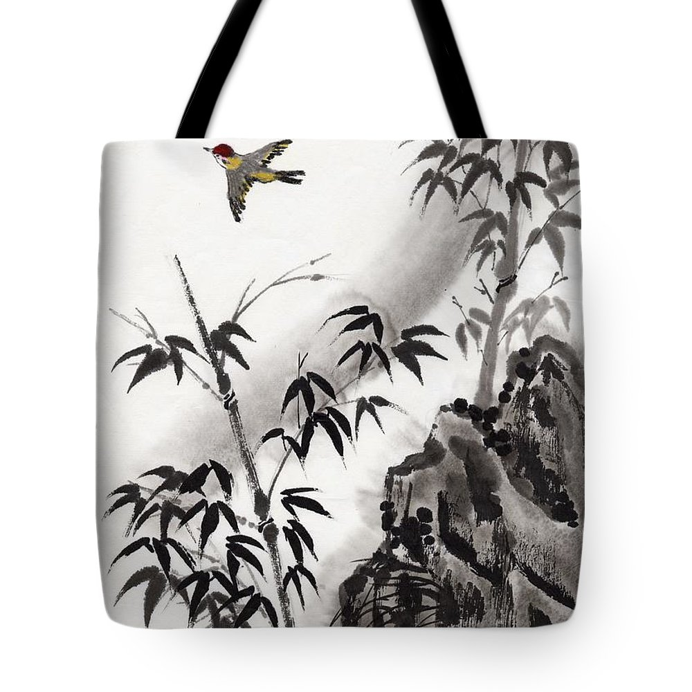 Scenics Tote Bag featuring the digital art A Bird And Bamboo Leaves, Ink Painting by Daj