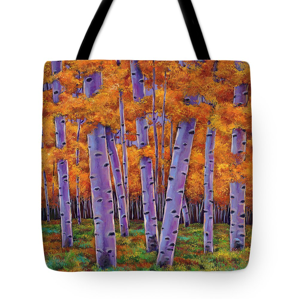 Aspen Trees Tote Bag featuring the painting A Chance Encounter by Johnathan Harris