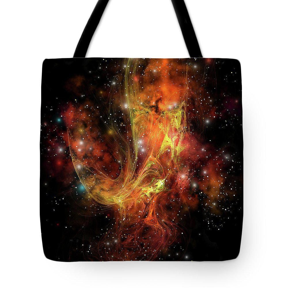 Curve Tote Bag featuring the digital art A Colorful Nebula And Stars In The by Corey Ford/stocktrek Images