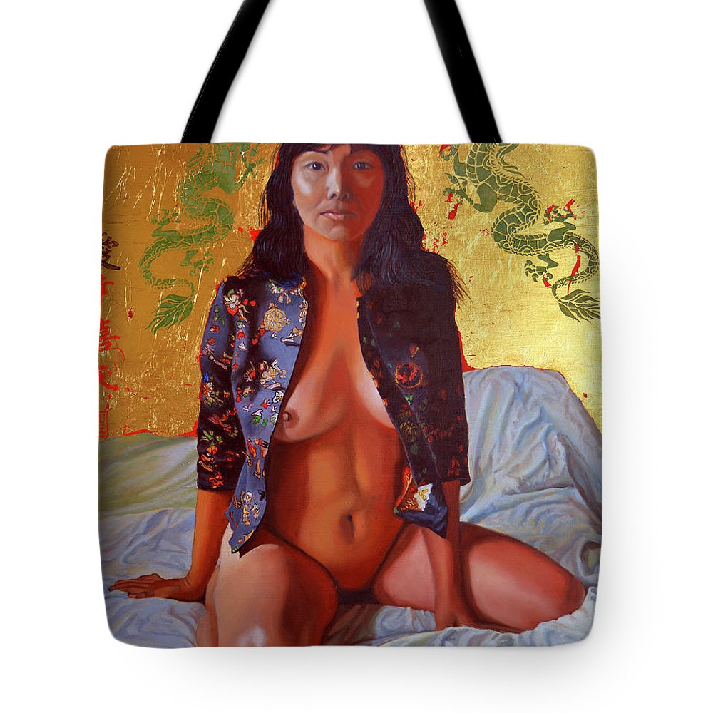 Chinese Concubine Tote Bag featuring the painting A Day In The Life Of An Imperial Concubine by Thu Nguyen
