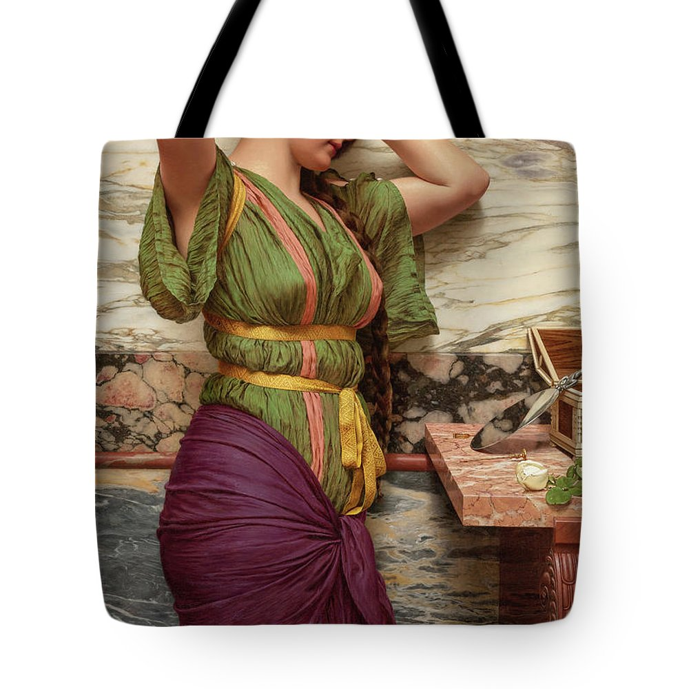 John William Godward Tote Bag featuring the painting A Fair Reflection, 19th Century by John William Godward