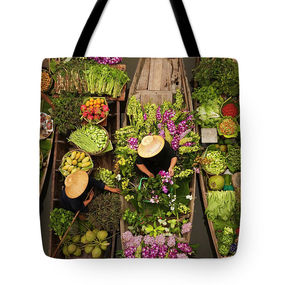 People Tote Bag featuring the photograph A Floating Market On A Canal In by Mint Images - Art Wolfe