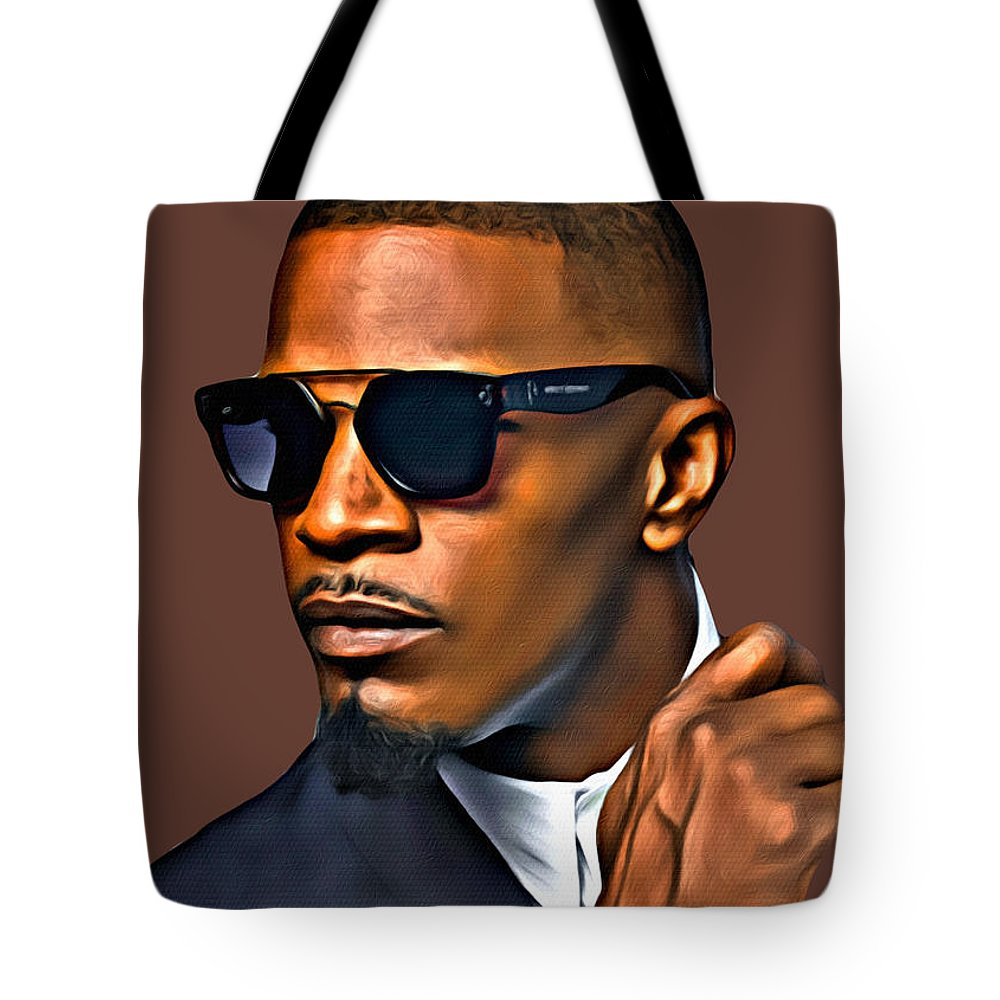 Jamie Foxx Tote Bag featuring the photograph A Foxx Indeed by Karen Showell