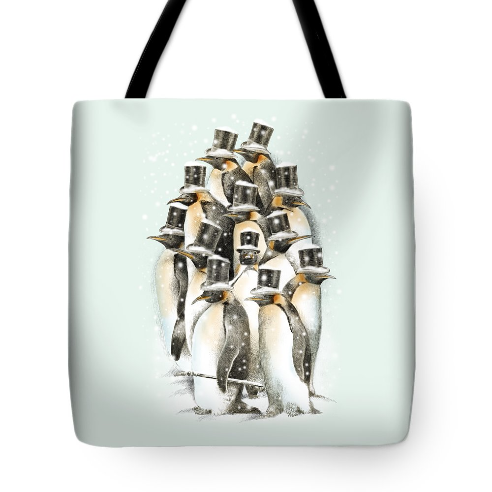 Penguins Tote Bag featuring the drawing A Gathering in the Snow by Eric Fan
