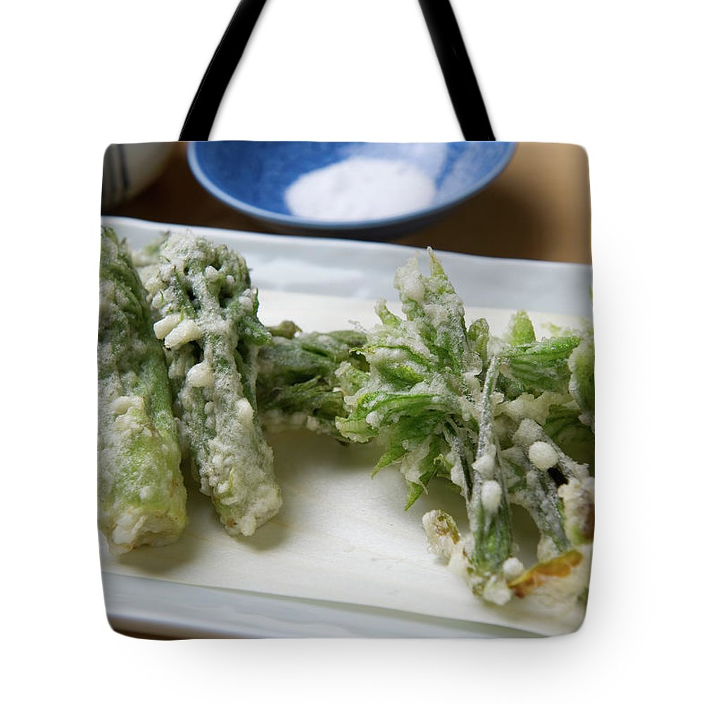 Crockery Tote Bag featuring the photograph A Japanese Dish Of Wild Plants by Ryouchin