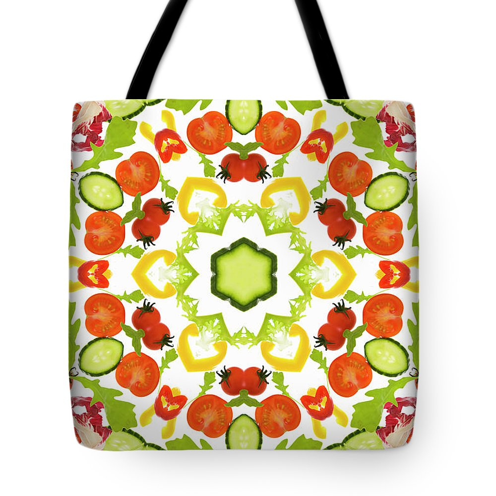 White Background Tote Bag featuring the photograph A Kaleidoscope Image Of Salad Vegetables by Andrew Bret Wallis