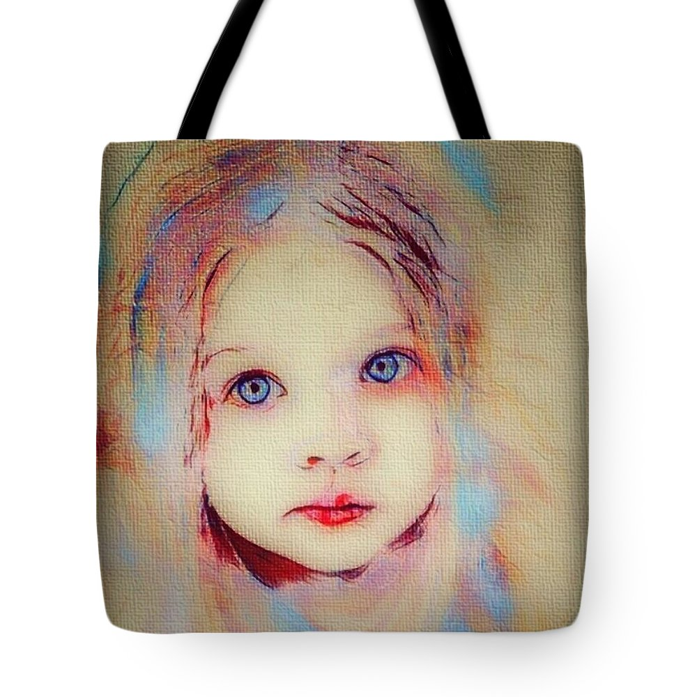 Digitalart Tote Bag featuring the digital art A Little Angel by Angelina Anic