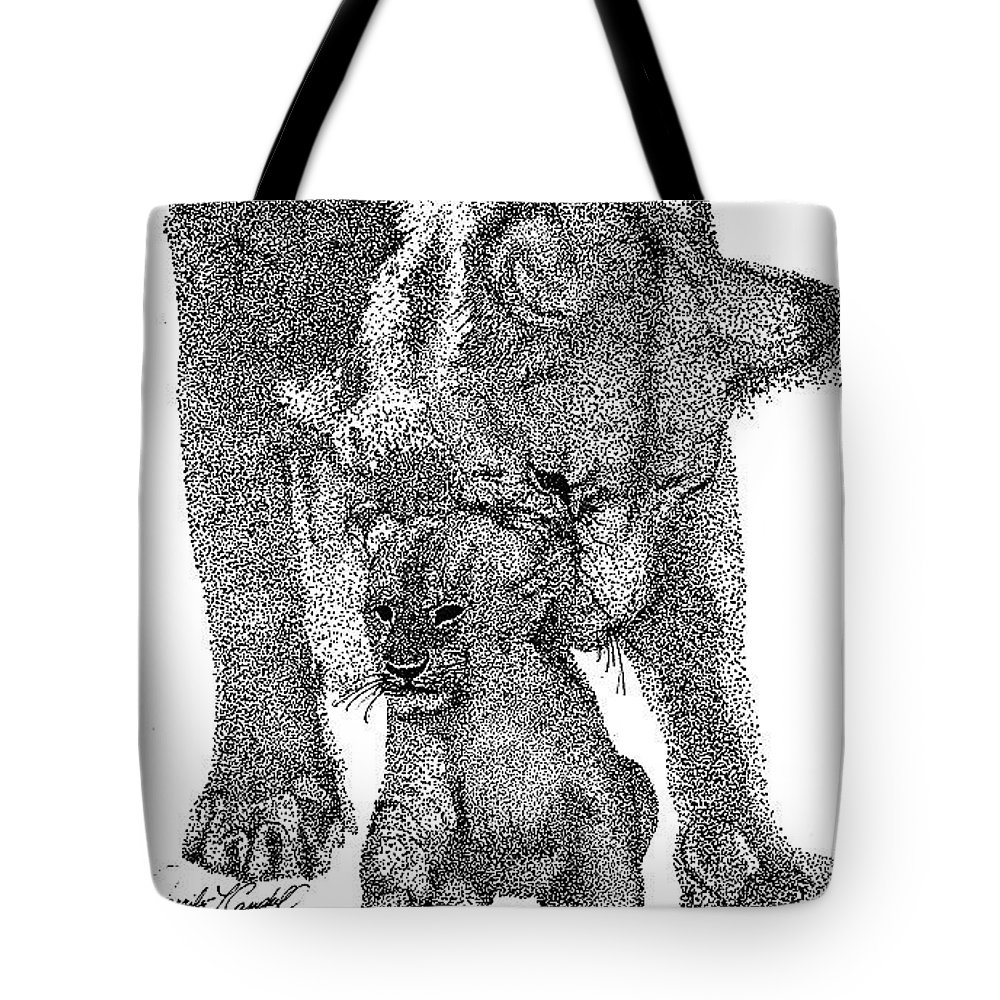 Jennifer Campbell Brewer Tote Bag featuring the drawing A Little Behind The Ear by Jennifer Campbell Brewer