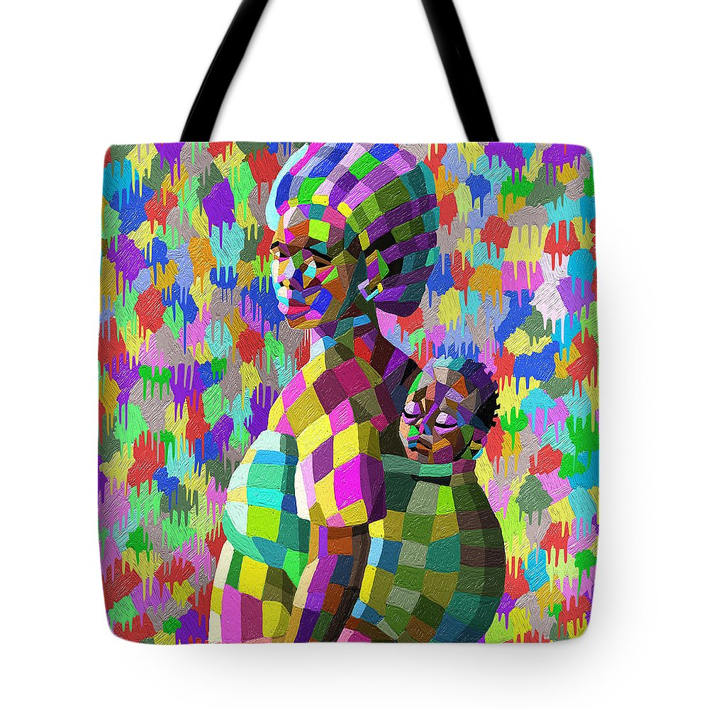 Painting Tote Bag featuring the painting A Mother's Love by Anthony Mwangi