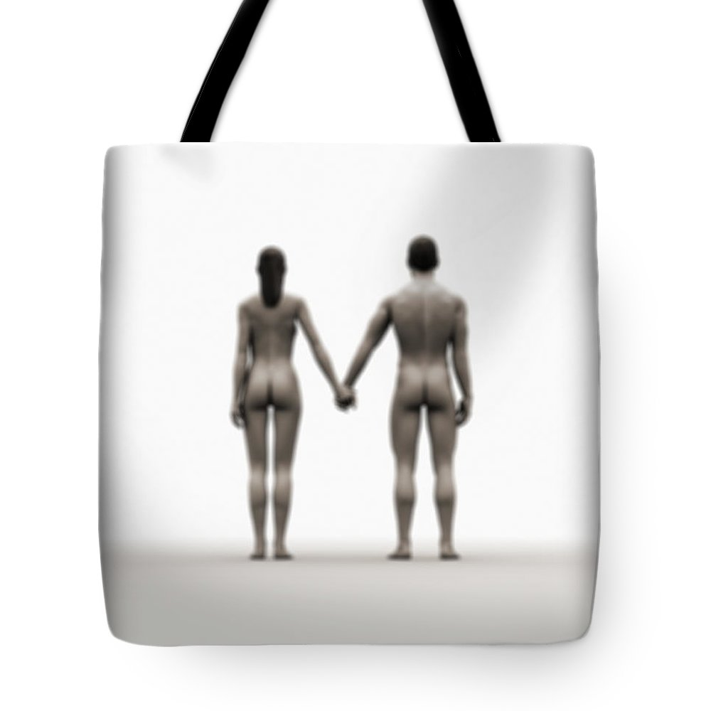 Heterosexual Couple Tote Bag featuring the digital art A Naked Couple Holding Hands by Jorg Greuel