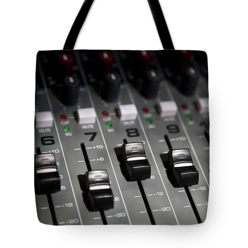 Shadow Tote Bag featuring the photograph A Sound Mixing Board, Close-up, Full by Tobias Titz