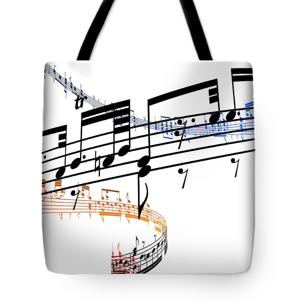 Sheet Music Tote Bag featuring the digital art A Stave Of Music by Ian Mckinnell