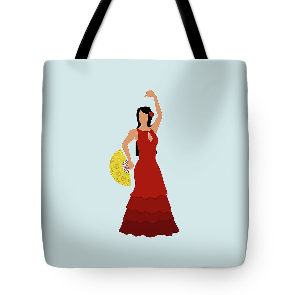 Human Arm Tote Bag featuring the digital art A Stereotypical Spanish Woman Dressed by Ralf Hiemisch