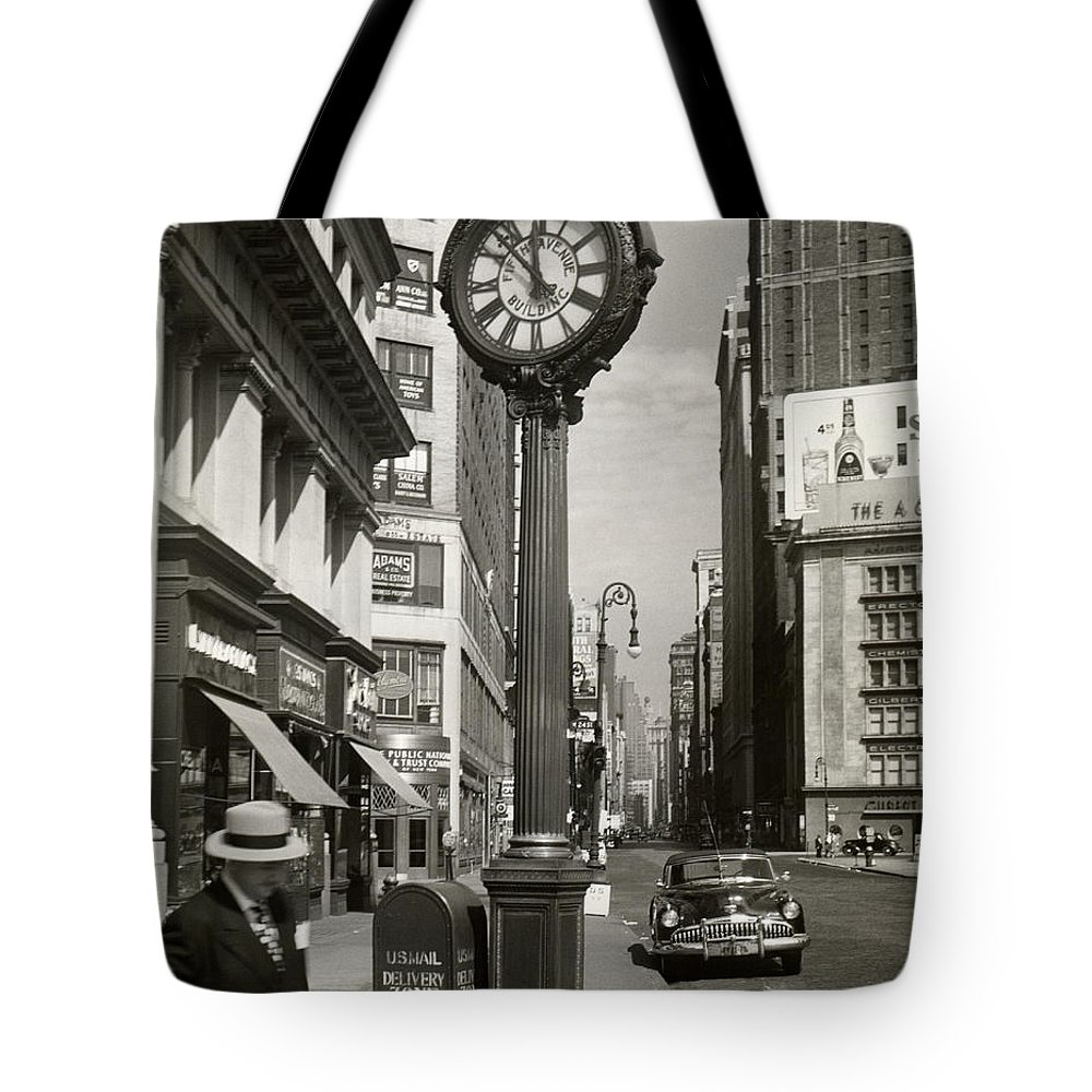 Public Mailbox Tote Bag featuring the photograph A Street Clock On Fifth Ave., Nyc by George Marks
