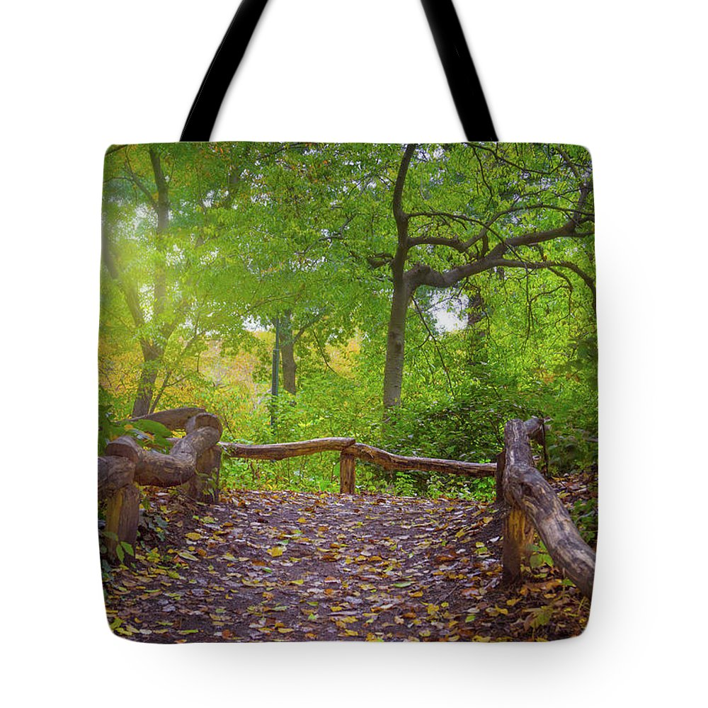 Central Park Tote Bag featuring the photograph A Walk In Central Park by Mark Andrew Thomas