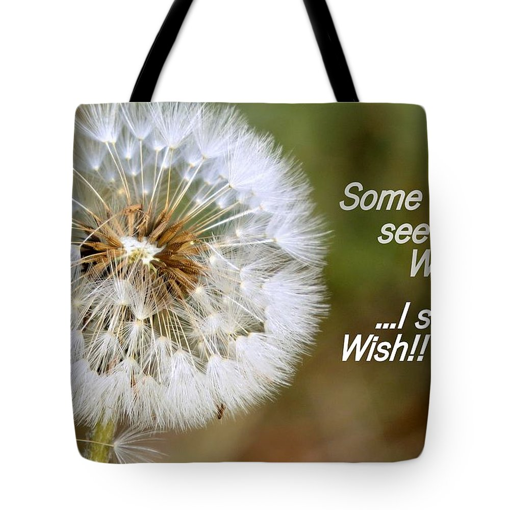 Weed Tote Bag featuring the photograph A Weed Or Wish? by Linda Vanoudenhaegen