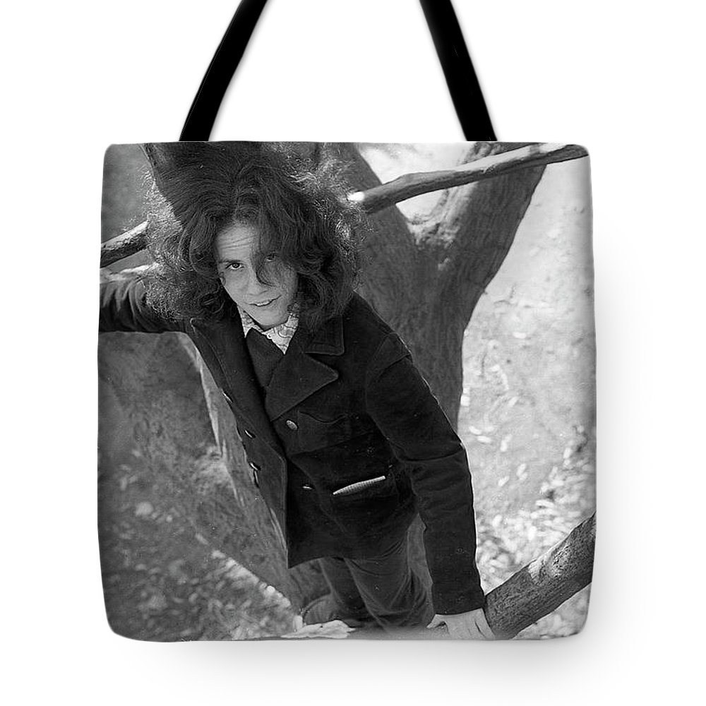 Providence Tote Bag featuring the photograph A Woman In A Tree, 1972 by Jeremy Butler