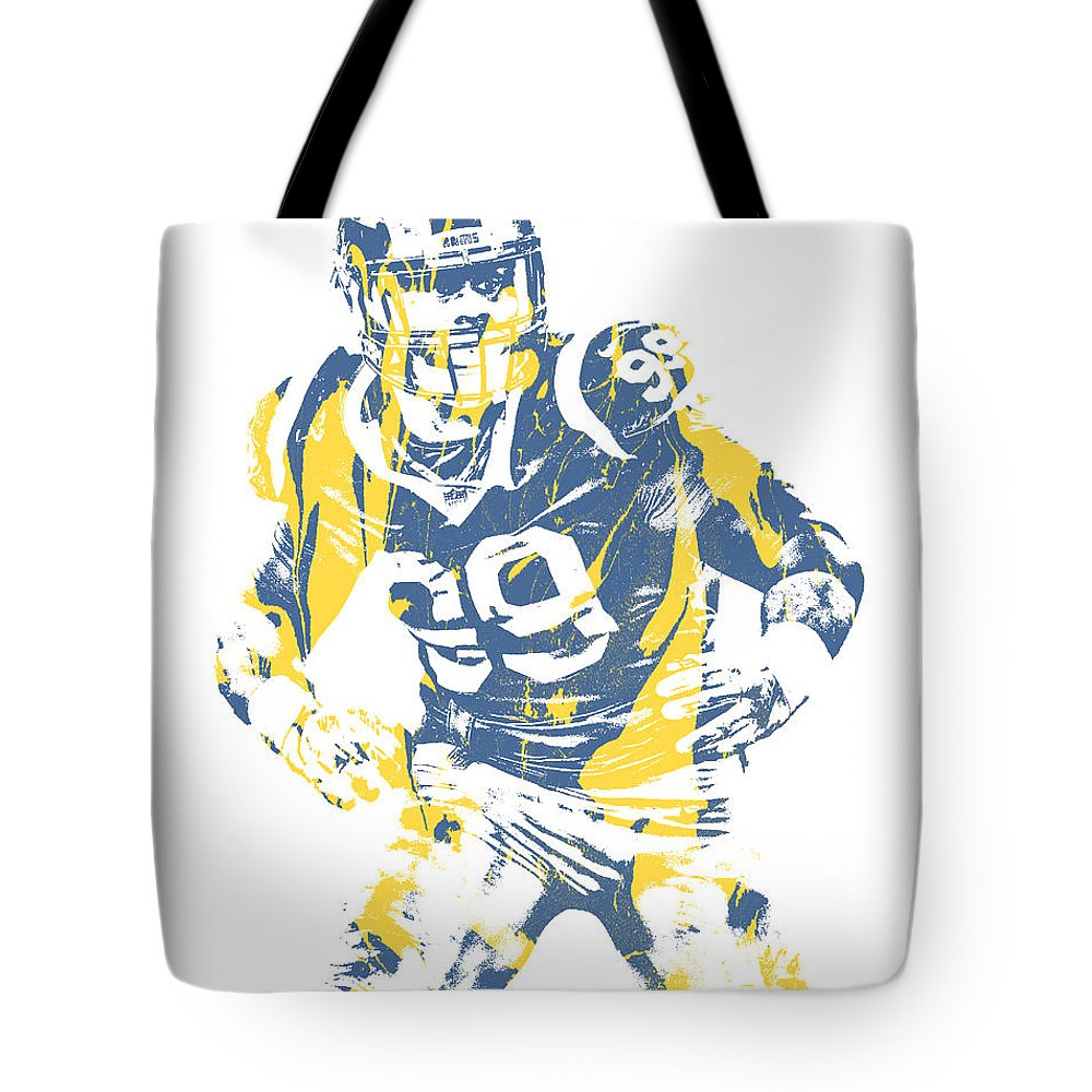Aaron Donald Tote Bag featuring the mixed media Aaron Donald Los Angeles Rams Pixel Art 13 by Joe Hamilton