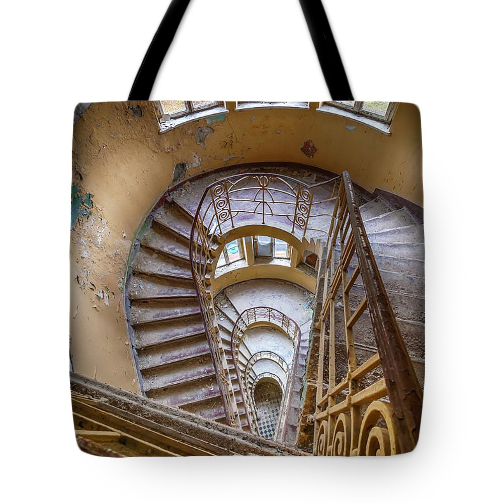 Built Structure Tote Bag featuring the photograph Abandoned House Staircase by Katharina Muchow