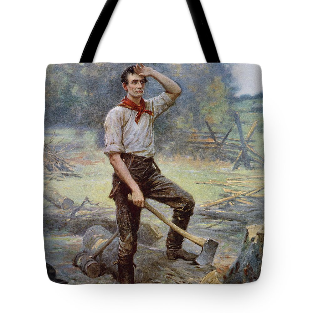 Abraham Lincoln Tote Bag featuring the painting Abe Lincoln The Rail Splitter by War Is Hell Store