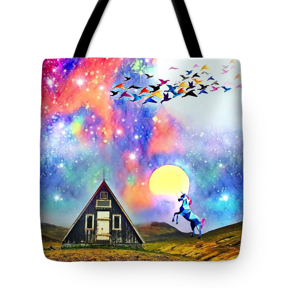 Tote Bag featuring the digital art Abode of the Artificial-Dreamer Zero by Sureyya Dipsar