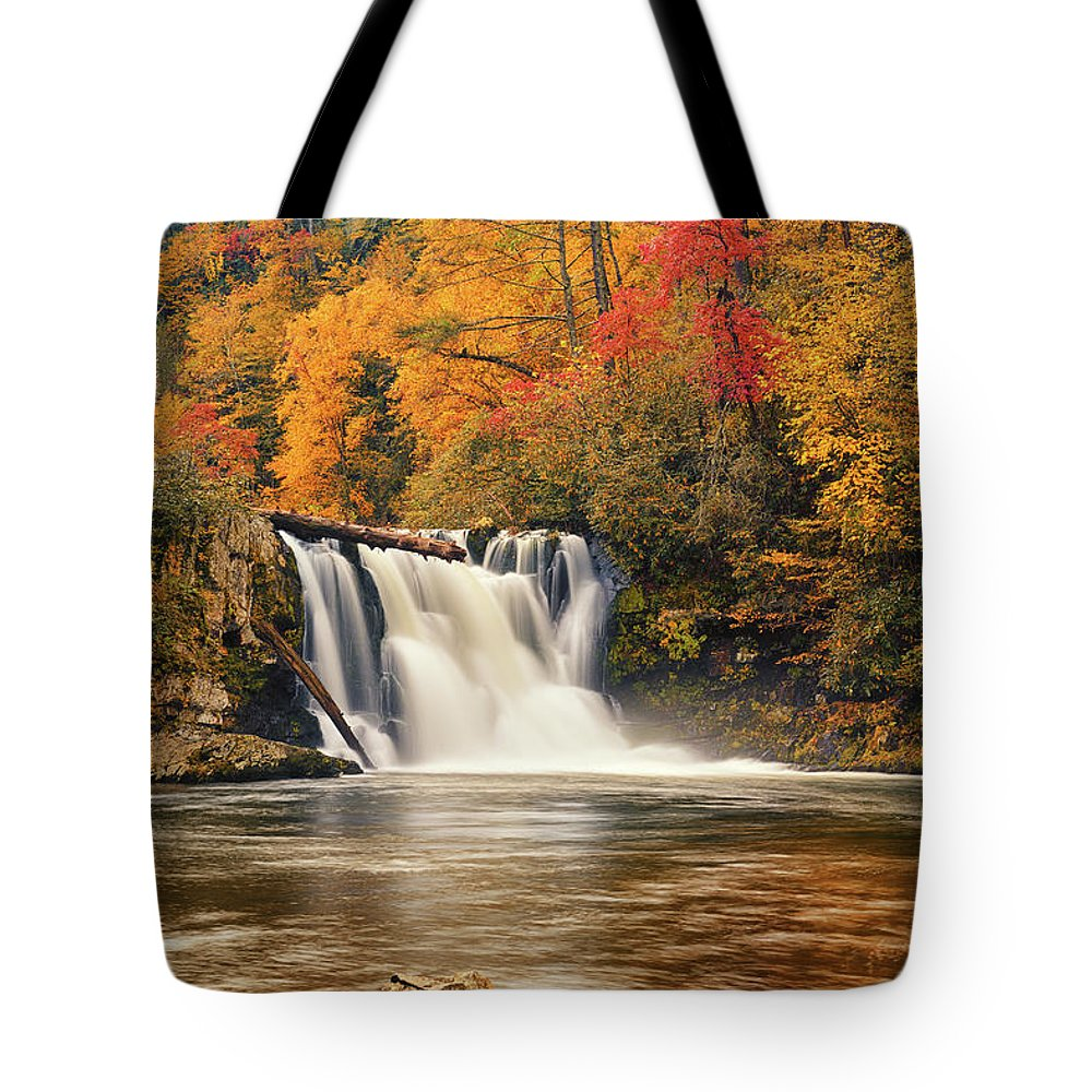 Abrams Falls Tote Bag featuring the photograph Abrams Falls Autumn by Greg Norrell