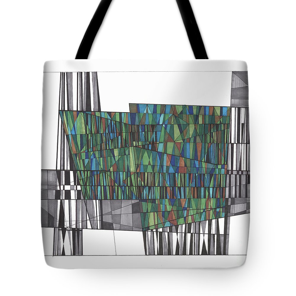 Abstract Tote Bag featuring the drawing Abstract 37 by Rickie Jacobs