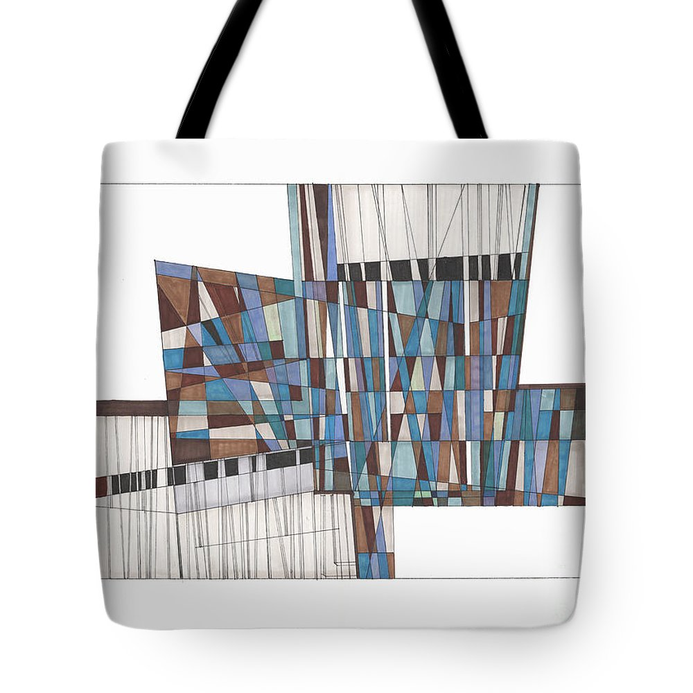 Abstract Tote Bag featuring the drawing Abstract 45 by Rickie Jacobs