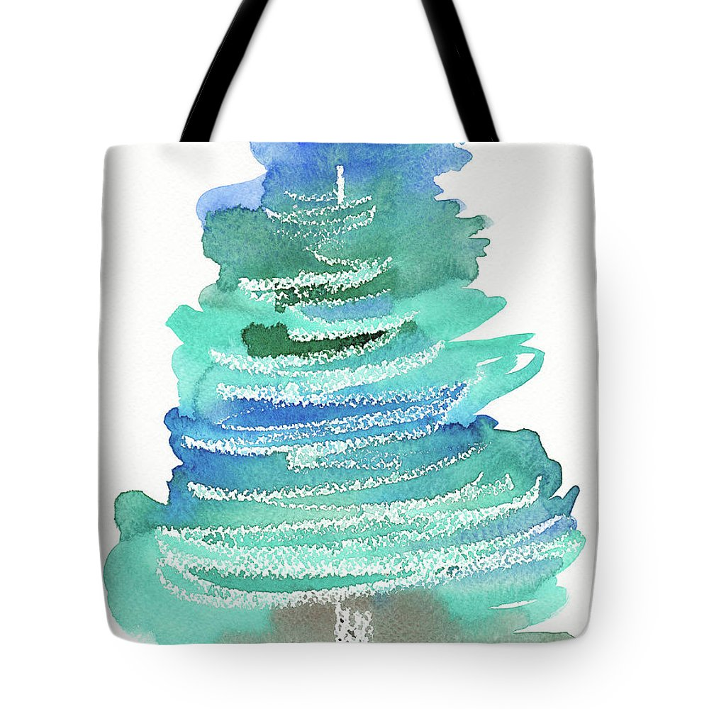 Season Tote Bag featuring the painting Abstract Fir Tree Christmas Watercolor Painting by Karen Kaspar