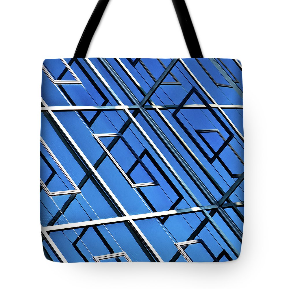 Outdoors Tote Bag featuring the photograph Abstract Geometric Reflection by By Fabrice Geslin
