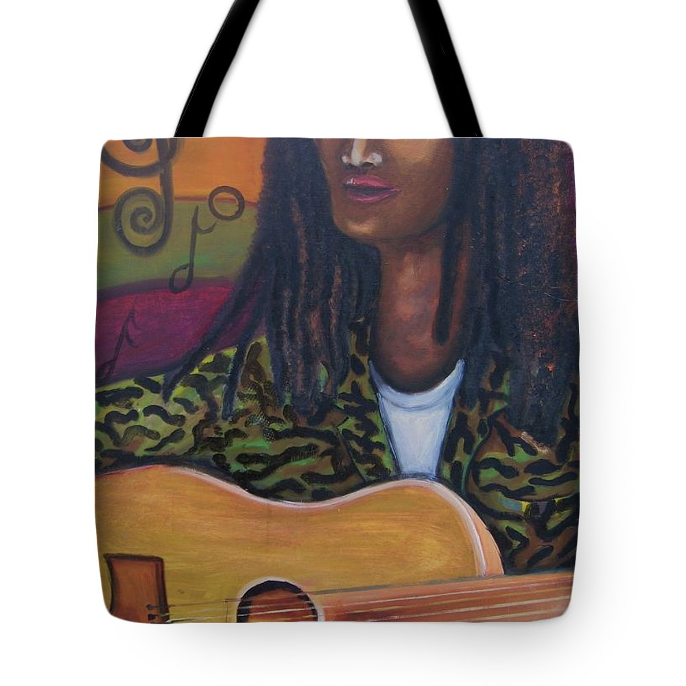 Tote Bag featuring the painting Abstract Music by Andrew Johnson