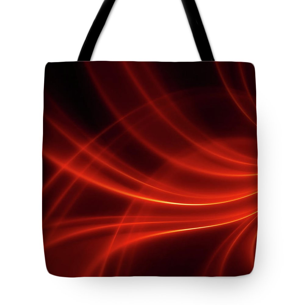 Three Dimensional Tote Bag featuring the photograph Abstract Red Dynamic Lines Backgrounds by Hh5800