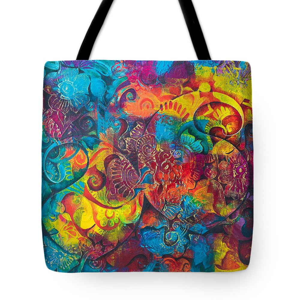 Canvas Tote Bag featuring the painting Abstract Splash 1 by Kawsar Ahmed