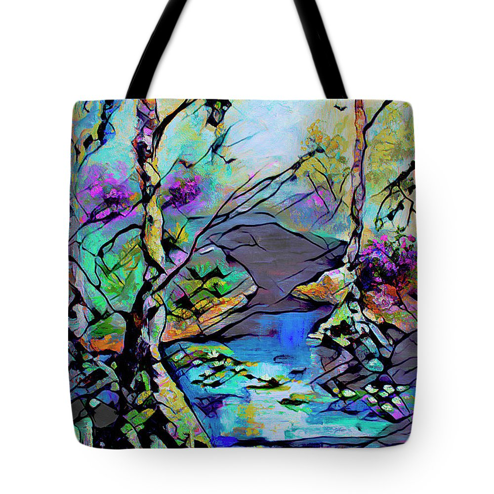 Abstract Art Tote Bag featuring the mixed media Abstract Wetland Trees and River by Ginette Callaway