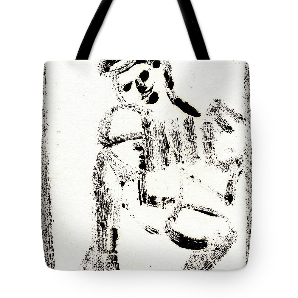 Accordion Tote Bag featuring the painting Accordion After Mikhail Larionov Black Ink Painting 1 by Edgeworth DotBlog