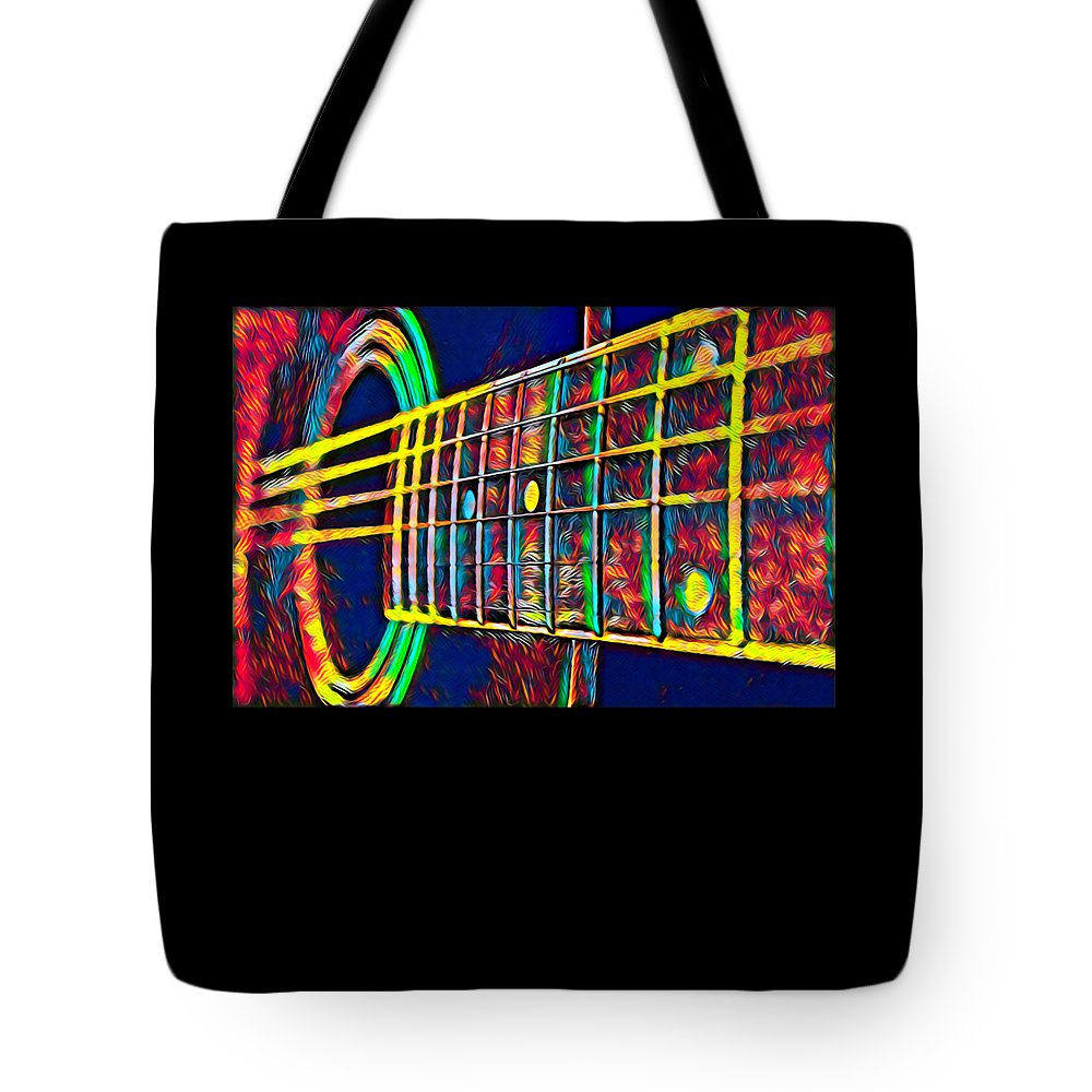 Cool Tote Bag featuring the digital art Acoustic Guitar Musician Player Metal Rock Music Color by Super Katillz